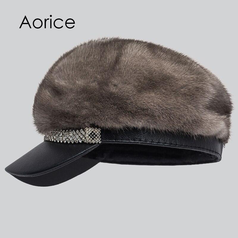 Aréglisse russie nouvelle marque chapeaux élégant hiver femmes chaud vison fourrure pétales visières bonnets Cap pompons Top Grand 7 couleurs HF7044