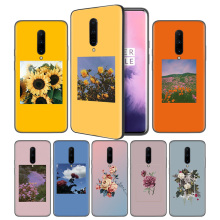 Aesthetics Prints Blooming Flowers Soft Black Silicone Case Cover for OnePlus 6 6T 7 Pro 5G Ultra-thin TPU Phone Back Protective