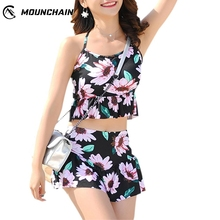 Mounchain Women Beach Dress Summer Flower Fashion Chic Printing Swimsuit Set