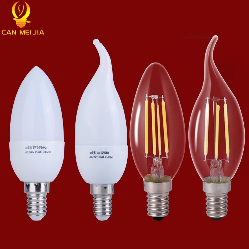 Edison LED Lamps 220V Led E14 Filament Bulb Lights Ampoule Led Energy Saving Lamp E14 Led Candle Bulb  2W 3W 4W 5W Lampade Led