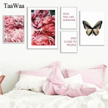 Romantic Modern Pink Rose Flowers Butterfly Wall Art Picture Poster Print Valentines Gift Nordic Canvas Painting for Bedroom