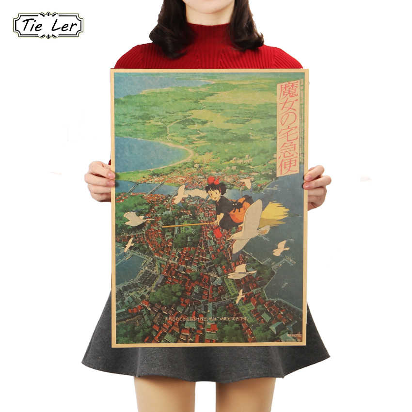 TIE LER Kiki's Delivery Service Hayao Miyazaki Animation Kraft Paper Poster Decoration Painting Wall Stickers 36 X 51.5cm