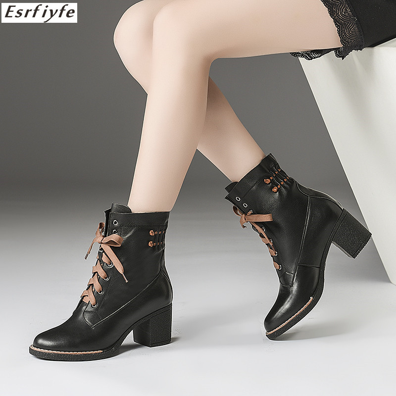 ESRFIYFE 2018 New Genuine Leather Fashion Women Martin Boots Spring Autumn Ankle Boots for Women High Heels Lace Up Shoes WomanESRFIYFE 2018 New Genuine Leather Fashion Women Martin Boots Spring Autumn Ankle Boots for Women High Heels Lace Up Shoes Woman