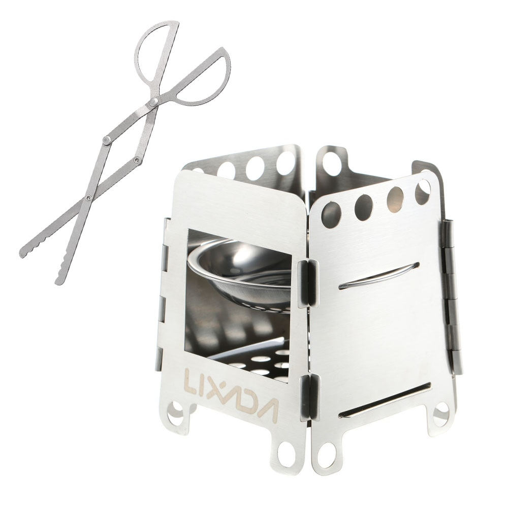 Lixada Outdoor Stove Portable Stainless Steel Lightweight Folding Wood Cooking Camping Backpacking Alcohol