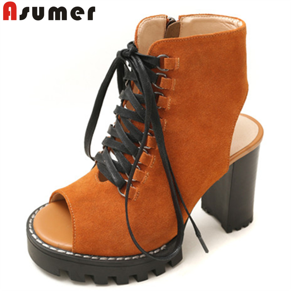 ASUMER black brown fashion spring autumn new women boots peep toe lace up platform thick heel prom high heels ankle boots front lace up casual ankle boots autumn vintage brown new booties flat genuine leather suede shoes round toe fall female fashion