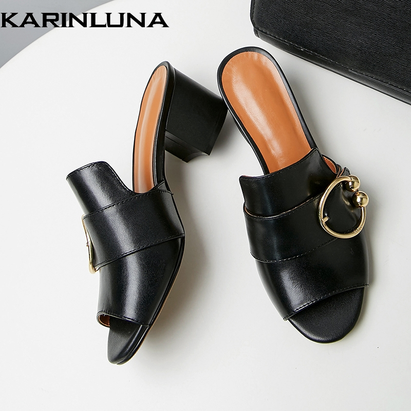 Karinluna 2019 big size 43 brand design sheepskin genuine leather square heels mules pumps shoes Woman women summer shoesKarinluna 2019 big size 43 brand design sheepskin genuine leather square heels mules pumps shoes Woman women summer shoes
