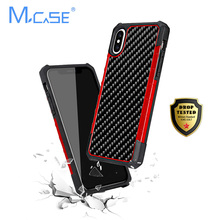Mcase Business Real Carbon Fiber Case for iPhone X XS Case Shockproof Cover Luxury Soft TPU Anti-Shock for iPhone 7 8 7Plus8Plus