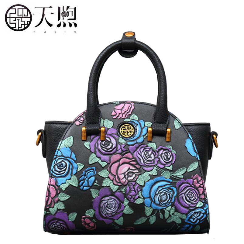 Pmsix2018 new luxury fashion high-grade leather embossed retro leather wings bag hand shoulder Messenger bag fashion tide pmsix2018 high quality luxury fashion new high grade leather ethnic embroidery handbags embroidered bag large shoulder bag