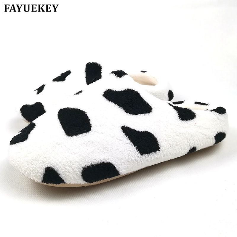 FAYUEKEY 2017 Ne 3 Colors Soft Sole Suede Plush Autumn Winter Home Slippers Women Indoor\Floor Print Cow Lip Prints Slippers soft plush big feet pattern winter slippers