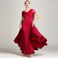 Red Lace Ballroom Dance Dresses Ballroom Waltz Dresses for Ballroom Dancing Clothes Waltz Foxtrot Flamenco Modern Dance Costumes