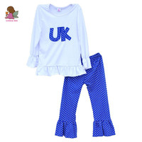 Kids 2PCS Clothing Girls Outfits White T-shirts Blue Pants UK Pattern Ruffle Top Bottom Toddler Children Clothes Sets F063
