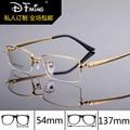 Moda de nova mens armações de óculos titanium óculos de armação 8257 de pure titanium meia armações de óculos de prescrição de óculos