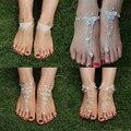 Pé de prata pulseira de jóias mulheres sexy strass sandálias descalças, jóias pé praia brida casamento acessórios