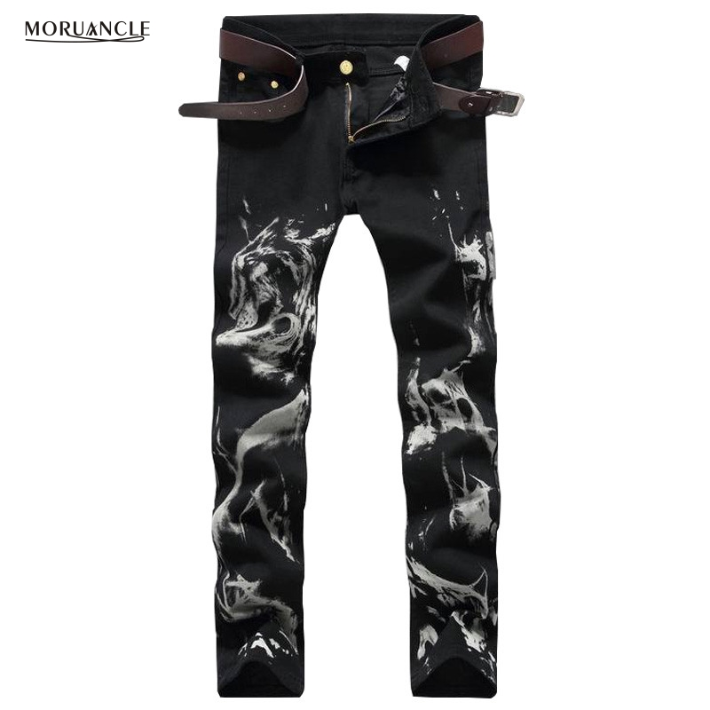 Fashion Club Wear Mens Black Denim Joggers Wolf Printed Slim Fit Jeans Pants Man Strentch Painted Jean Trousers Brand Designer купить