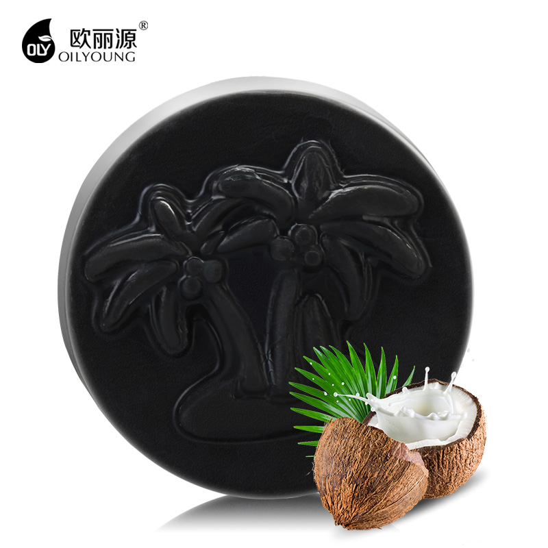 OILYOUNG Blackhead Removal Coconut Charcoal Handmade Soap Whitening Acne Treatement Deep Clean Blackheads Remover Face Skin Care coconut coffee body scrub cream whitening charcoal handmade soap dead sea mud face black blackhead remover mask 3 in 1 set