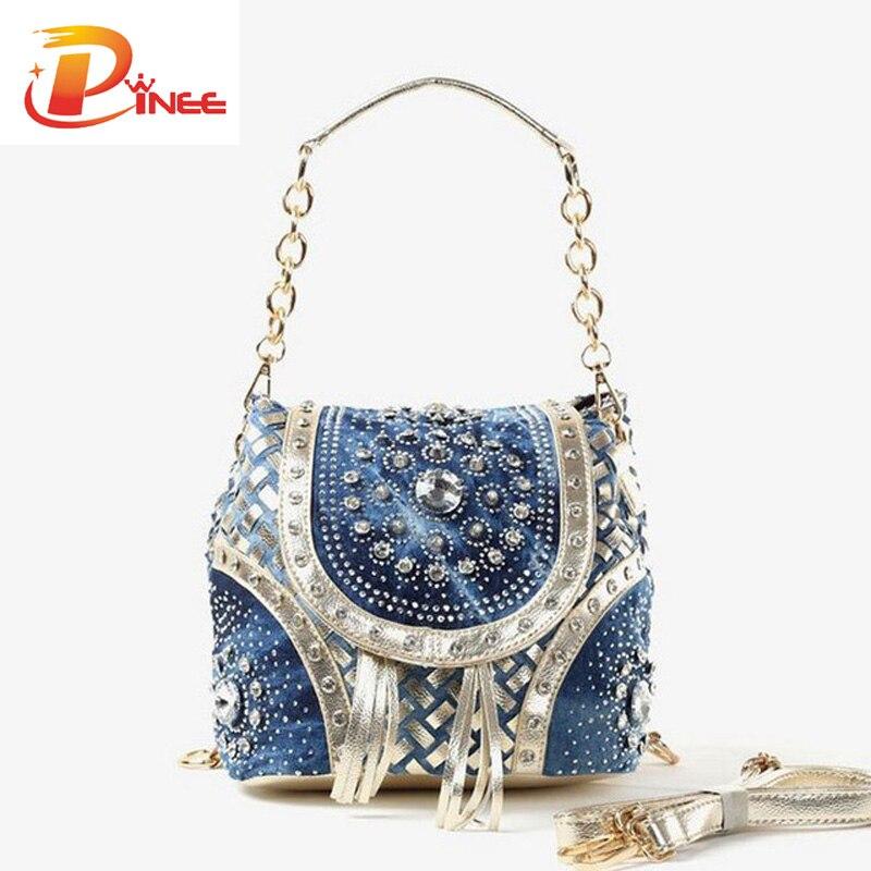 Gold/Sliver fashion ladies handbag designer weave style tassel women shoulder ba