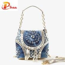 Gold/Splitter mode damen handtasche designer webart quaste frauen umhängetaschen PINEE markenname