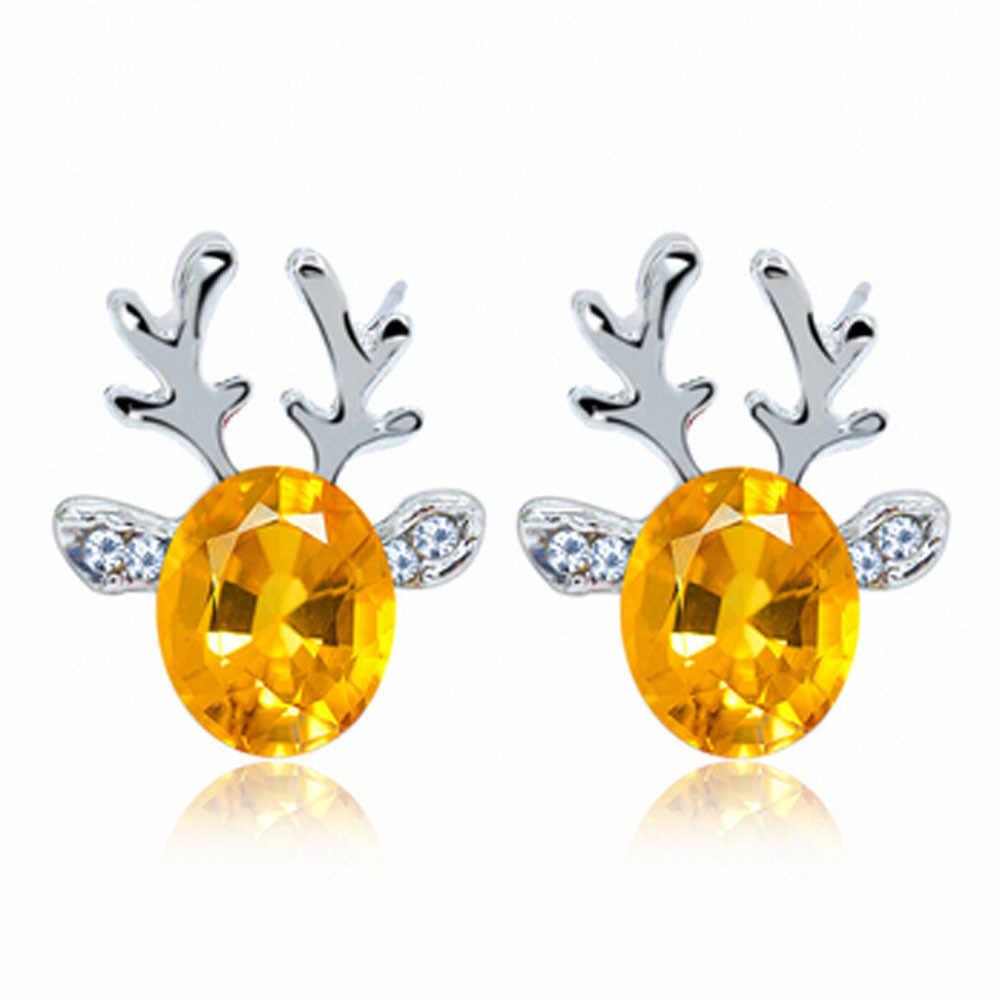 Pendientes de cristal de Tooayk pendientes de lujo tridimensional de Navidad pendientes de Reno joyería pendientes para fiesta kolcyki orecchini P #