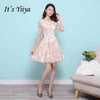 It's YiiYa Luxury Half Sleeve Appliques Lace Cocktail Dresses Elegant Knee Length Formal Party Gown MX012