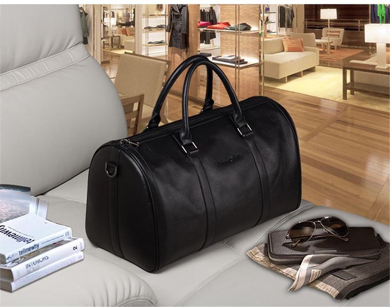 Bagaj ve Çantalar'ten Seyahat Çantaları'de Yeni 2016 Moda Hakiki Deri erkek seyahat çantası bagajı Çantası gerçek deri Erkek silindir çanta Haftasonu Çanta Büyük Tote Gecede Siyah'da  Grup 2