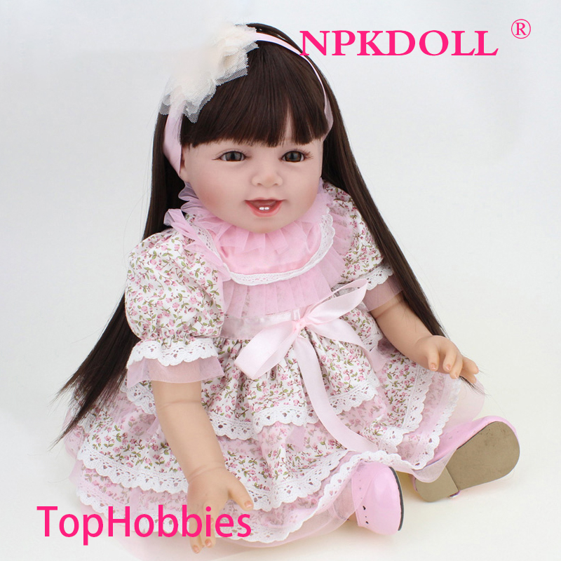 G165 NPK reborn Dolls Real Baby SiliconeG16 Reborn doll 22 Inch Long Hair wigs Girls Dress bebe alive boneca reborn realista npk brand doll reborn long brown hair princess baby dolls soft silicone toddler girls toys boneca reborn realista
