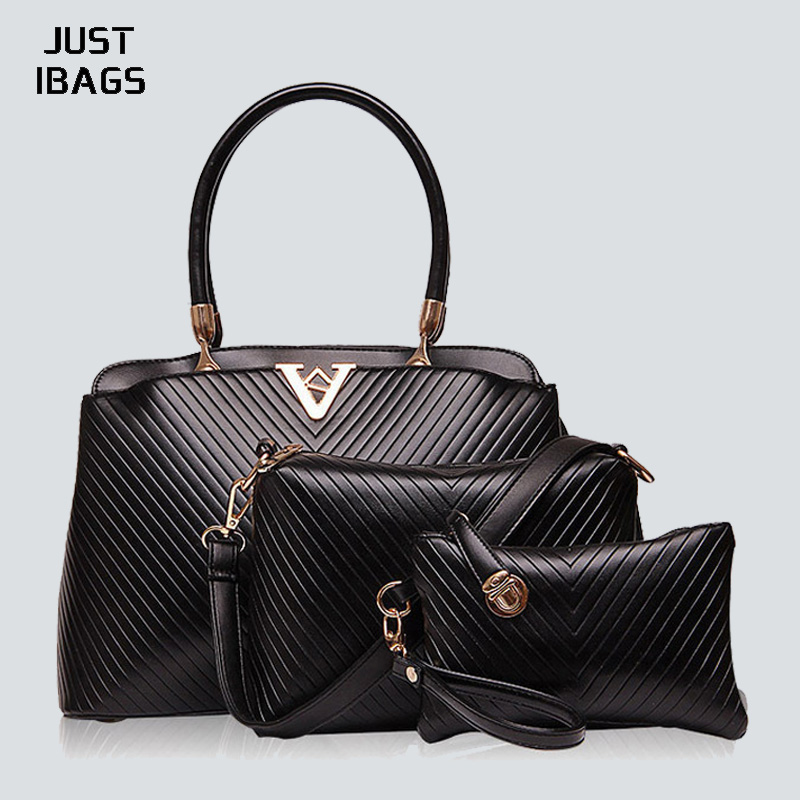 3pcs Luxury women shoulder bags set PU leather embossed striped handbags ladies Elegant cssbody bag+clutch purse Composite bag new fashion women handbags cartoon printing composite bag set embossed pu leather bag lovely girls totes graffiti shoulder bag