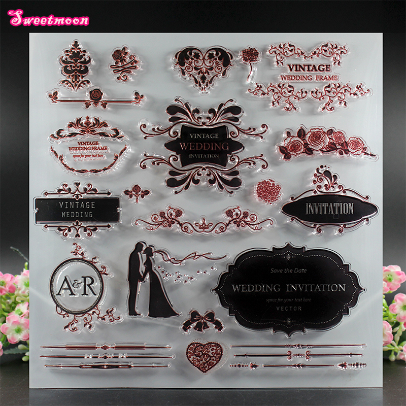 все цены на Wedding poster greeting card design Scrapbook Clear Stamp photo cards account rubber stamp  Embossing Folder card Stamp онлайн