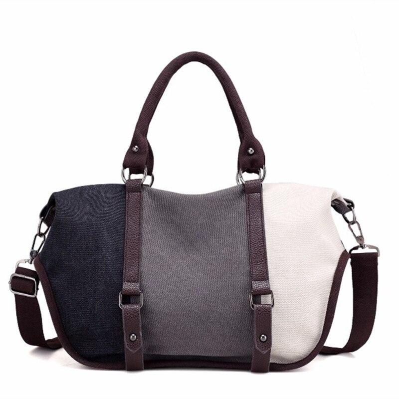 2018 New Bolsas Feminina Summer Hit Color Large Capacity Casual Slant Cross-bag Handbag Canvas Splicing Rainbow Bag Women Bags