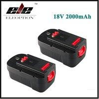 2 pcs Eleoption New 2000mAh 18V NI CD Replacement Power Tool Battery for Black & Decker HPB18 244760 00 A1718 A18