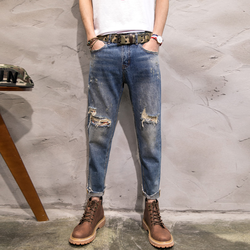 ФОТО 2017 Spring Summer New Men Vintage wash pure cotton hole Jeans Ankle Length Man Fashion Denim Special Hole Jeans 28-36