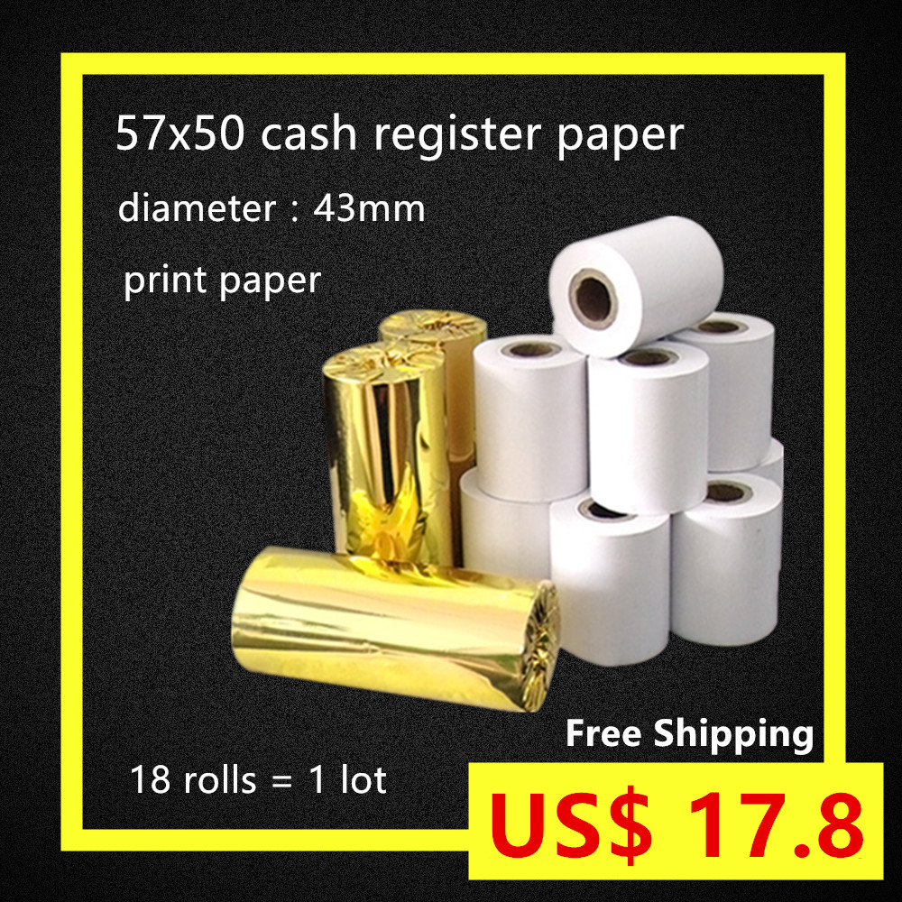 18Rolls/case 57x50 cash register paper ECO type thermal paper roll from 43mm POS printer wood plup Free Shipping