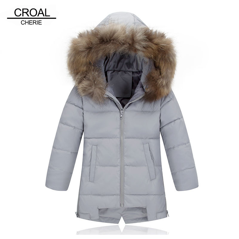 CROAL CHERIE Light 90% White Down Coat For Boys Outerwear Raccoon Fur Children Winter Parkas Jacket For Girls 110-150cm waterproof armband bag case w compass for iphone 5 blue
