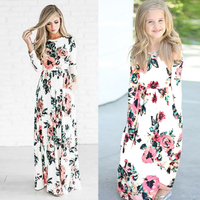 Mother Daughter Dresses Bohemian Maxi Long Family Dresses Clothes Floral Flower Print Causal Party Beach Mom