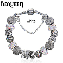 Dequeen DIY Girls Charm Bracelets Pendant Fit pandora Bracelet Jewellry For Women Gift Butterfly Beads Grass Charms Pulseira(China)