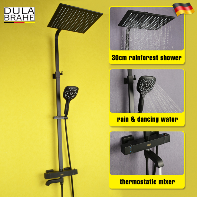 Bathroom Rain Shower Faucet Set Hot And Cold Thermostatic Mixer Tap Bath Shower Head Black Wall