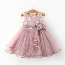 Flower Toddler Kid Baby Girl Sleeveless Dress Princess Pageant Lace Tutu Dresses cute pink lace flower girl dresses sheer sleeves appliqued baby girl dress tiered toddler pageant birthday dress for party gowns