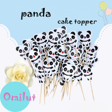 Omilut 24pcs Panda Party Cake Topper Birthday Decoration Supplies Baby Shower For Kid