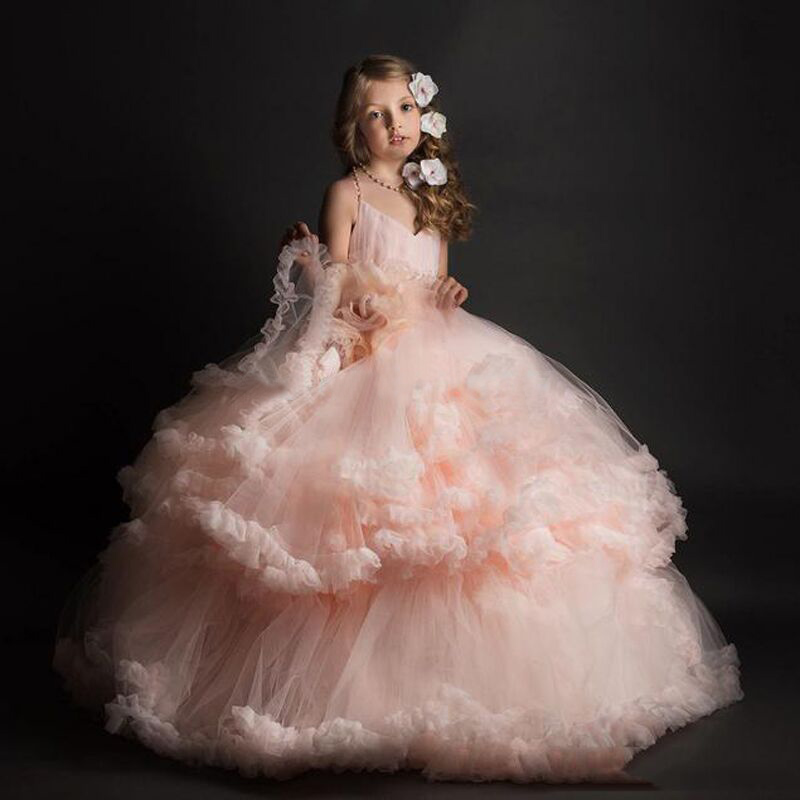 Unique Blush Pink   Flower     Girl     Dresses   2019 Custom Made Ball Gown Pageant   Dresses   For   Girls   Glitz Tiered Cloud Kids Evening Gowns