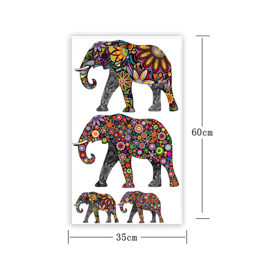 Colorful Elephant Flower Pattern Wall Sticker Removable Decal Home Decor Wallpaper Ethnic Unique Style PVC Living Room In Stickers From