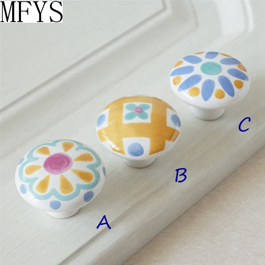 Colorful Handle Blossom Dresser Knobs / Ceramic Knobs