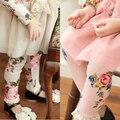 Осень мода малыш новорожденных девочек леггинсы теплые цветочные старинные дизайн дети брюки розничные дети брюки