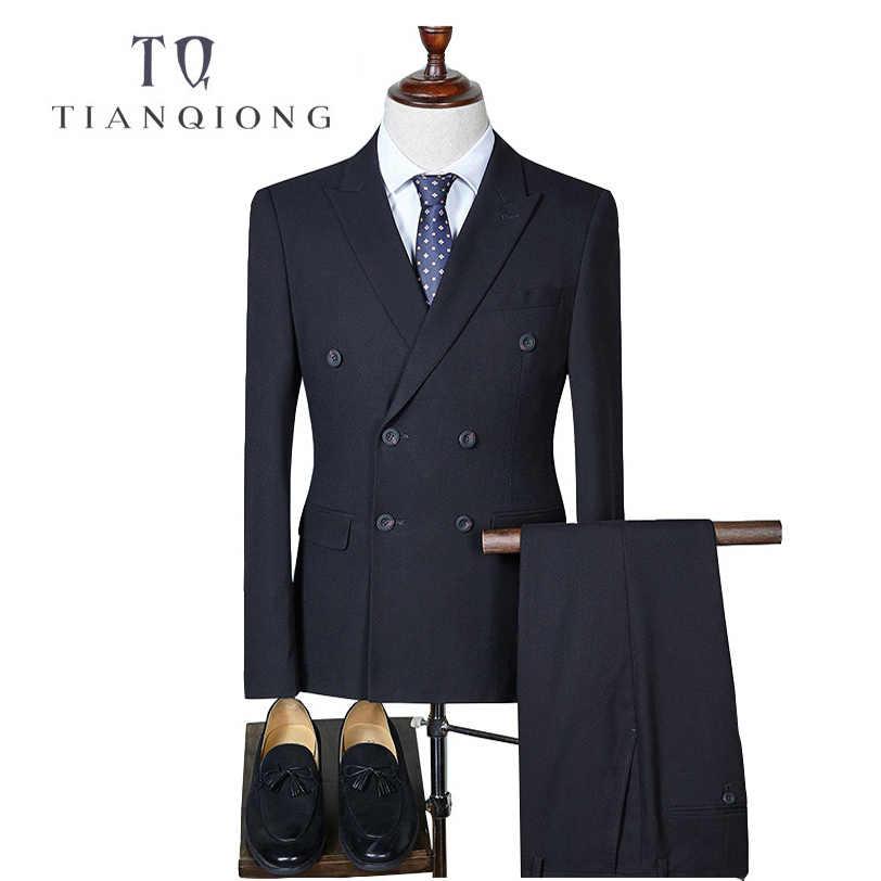 天原作ダブルブレストスリムフィットのスーツの男性 2018 スタイリッシュなメンズチェック柄スーツ新郎の結婚式のスーツ男性ビジネスフォーマル QT293