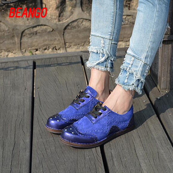 BEANGO 2017 New Coming Women Shoe British Style Color Blocking Lace Up Casual Shoes Flat Platform
