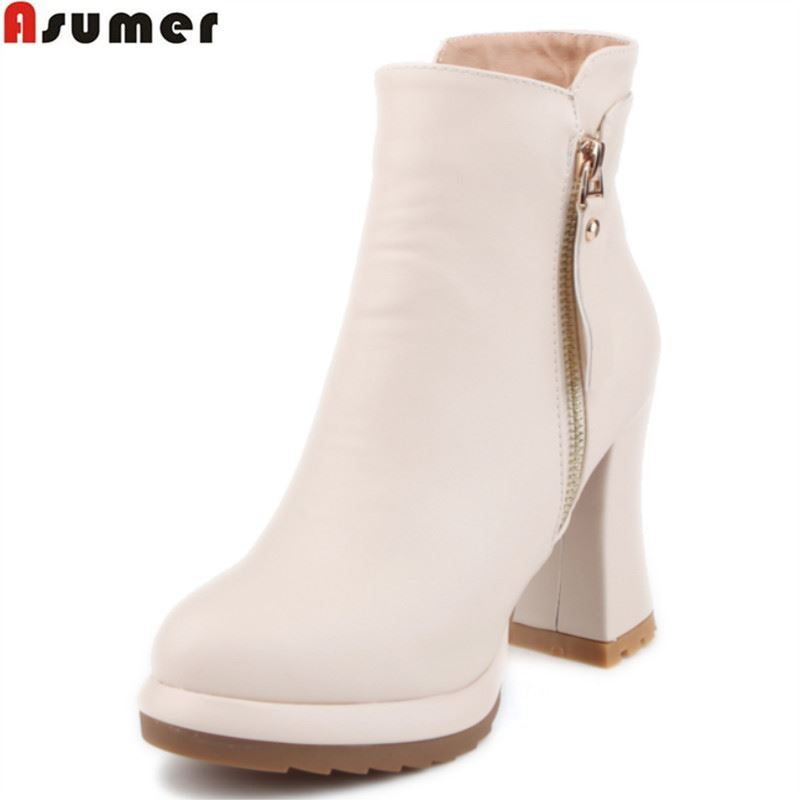 ASUMER large size 34-42 2016 autumn winter high quality soft leather ankle boots thick high heels round toe platform women boots big size 34 42 high quality genuine leather leisure low heels ankle boots fashion cowhide round toe platform women boots