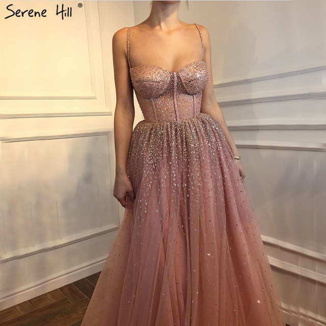 Newest Sexy long Pink Tulle Formal Evening Prom Party Gown Dress a line Gowns Dresses 2018 BLA6343