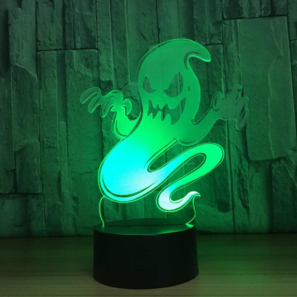 Призрак светодиодный 3d-ночник меняющая лампа Хэллоуин светящийся череп акриловая 3D иллюзия голограммы настольная лампа для детей подарок Прямая поставка