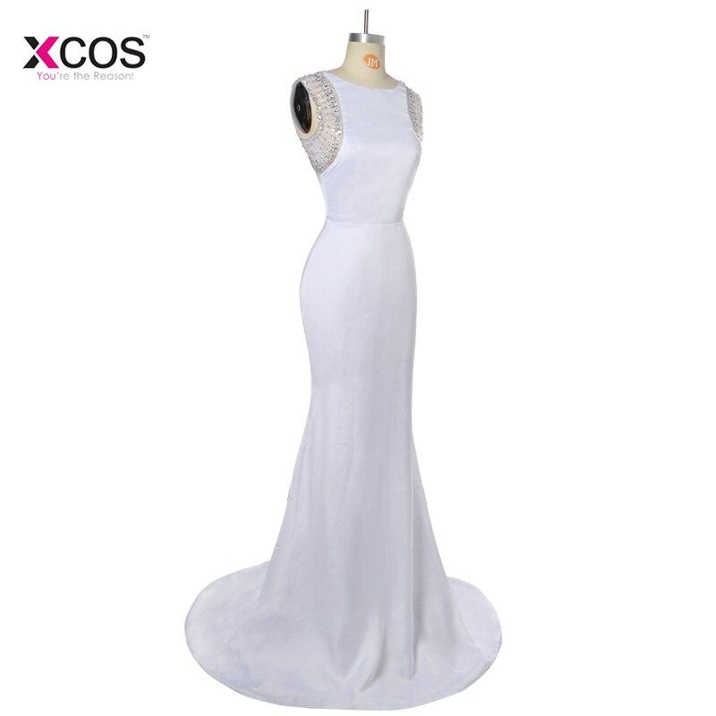 Robes De bal sirène blanche modeste 2018 Long voir à travers le dos cristal strass perlée Robe De soirée Robe De soirée