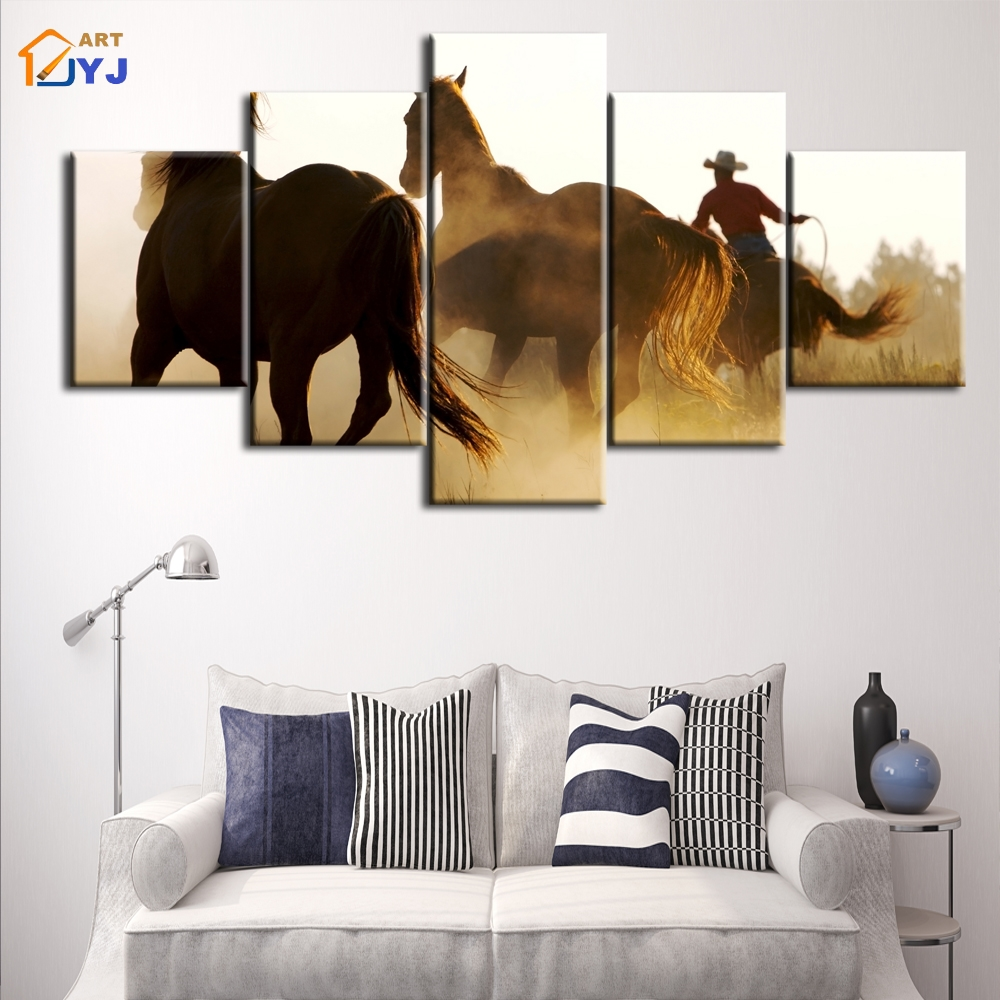 JYJ West Cowboy Picture Spray Painting Wall Art for Living Room Home ...