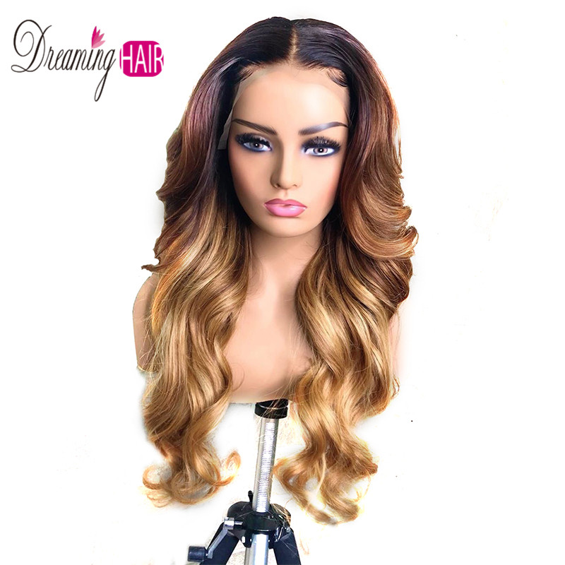 Ombre Highlights Color 13x6 Deep Part Lace Front Human Hair Wigs Brazilian Body Loose Wave Wigs With Baby Hair For Black Woman