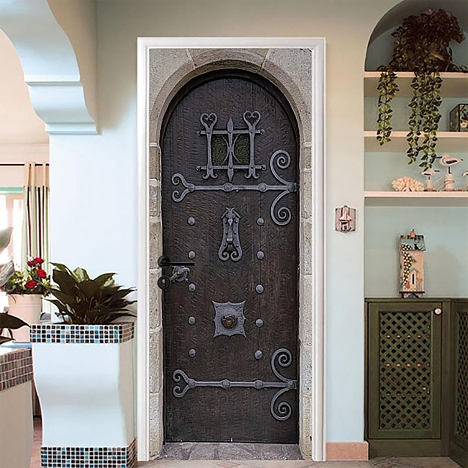 Self Adhesive Decal PVC Waterproof Classical Art Europe Home Decor Suit for Steel Door Paper DIY Living Room 3D Print Sticker Door Stickers     - title=